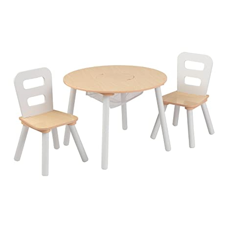 Phenomenal Kidkraft Wooden Round Table 2 Chair Set With Center Mesh Storage Natural White Pabps2019 Chair Design Images Pabps2019Com