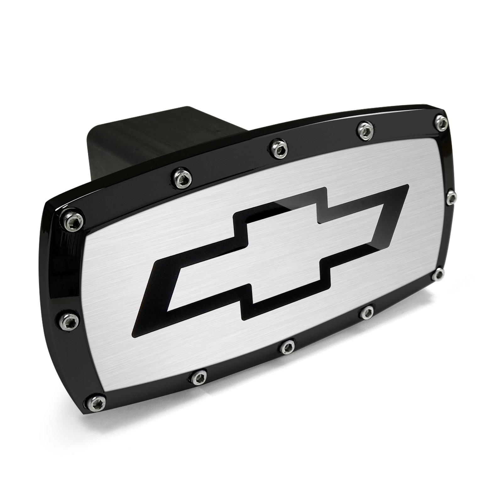 CarBeyondStore Chevrolet Black Trim Billet Aluminum Tow Hitch Cover by CarBeyondStore