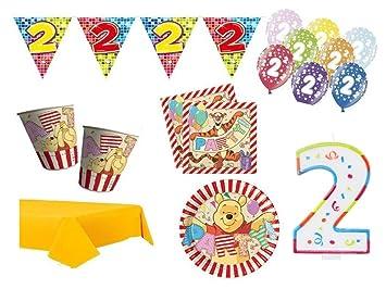 XXL Party Deko Set 2.Geburtstag Winnie Pooh Kindergeburtstag für 16 ...