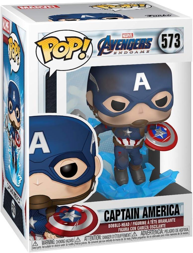 Amazon Com Funko Pop Marvel Avengers Endgame Captain America With Broken Shield Mjoinir Multicolor 3 75 Inches Toys Games