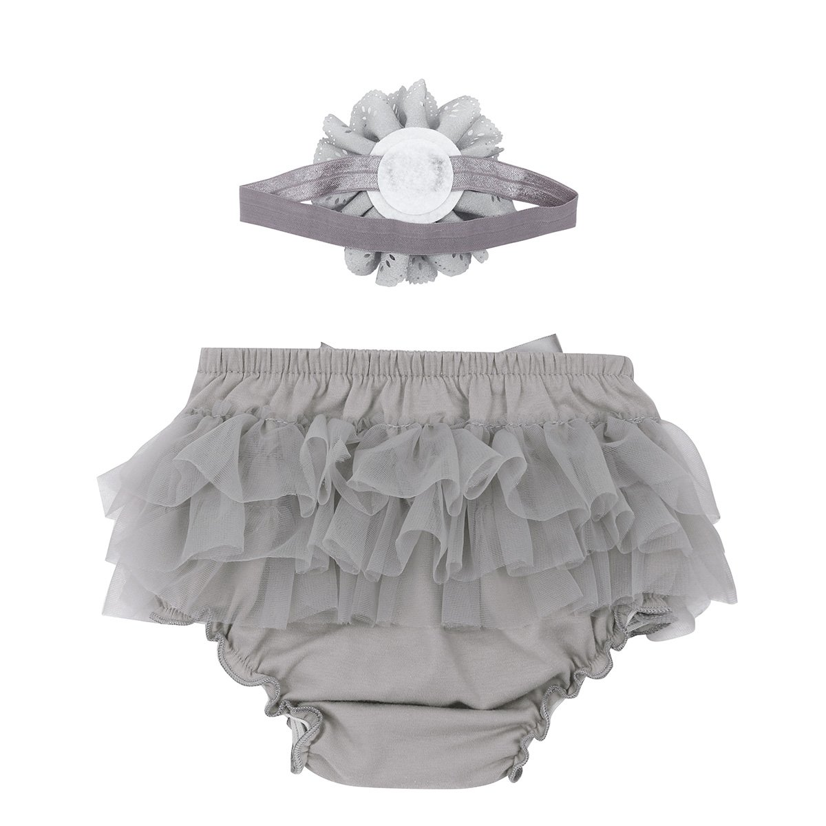 Agoky Baby Girls Ruffle Tutu Bloomers Diaper Cover Panties with Flower Headband Outfit Set Photo Shoot Prop
