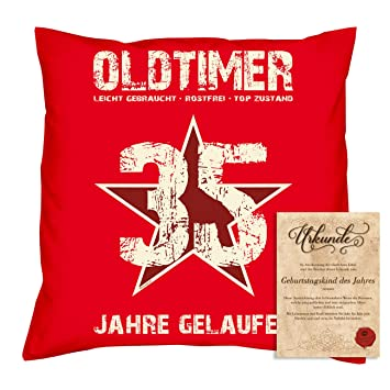 Oldtimer 35 Sprüche Kissen 40x40 Zum Geburtstag Für Die Ganze