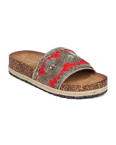 Nature Breeze Women Embroidered Footbed Sandal  Gold Swirl Slide  Oriental Tribal Slipper  Espadrille Sandal  GH96 by  B071CF4NQC