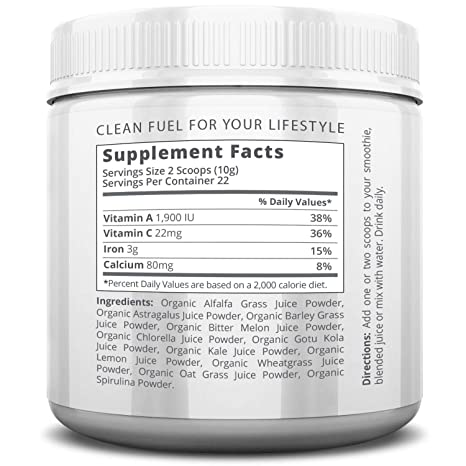 Buy AMRAP Nutrition - Organic Supergreens Powder - Blend of