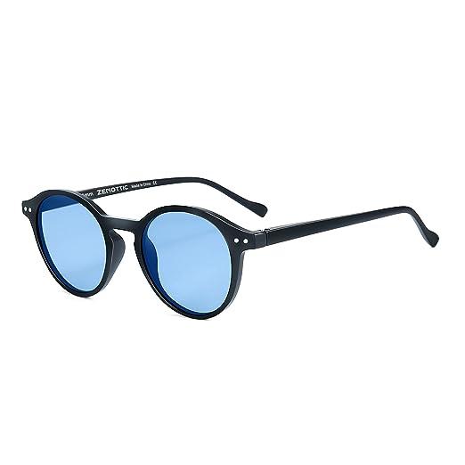 cb8606d4f ZENOTTIC Polarized Vintage Classic Round Sunglasses UV400 For Men Women (MATTE  BLACK/BLUE)