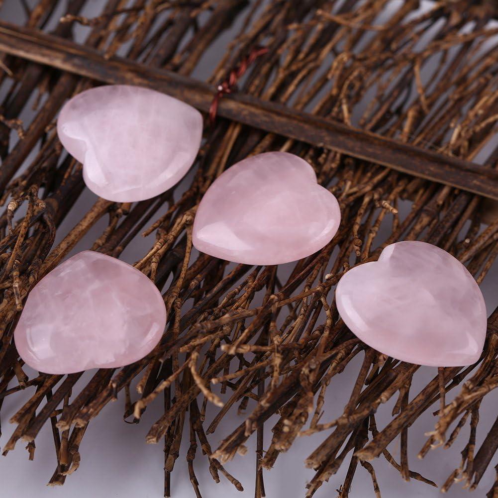 4 pezzi quarzo rosa scolpito a forma di cuore cristallo rosa guarigione pietra semipreziosa gemma decorazione regalo souvenir