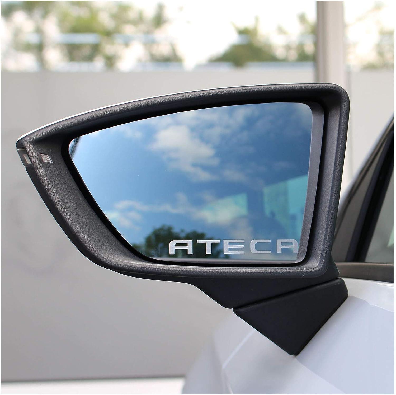 2er Set Spiegelaufkleber Schriftzug Spiegel Milchglas Außenspiegel Auto Kfz Mirror Sticker Vinyl Rückspiegel K049 Ateca Auto