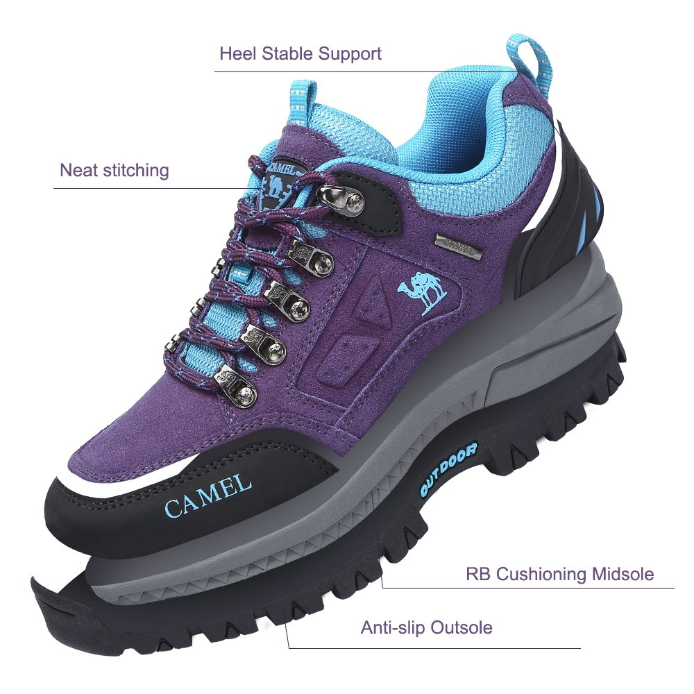 CAMEL CROWN Women\'s Outdoor Leather Hiking Shoes Breathable Lightweight Sneaker for Walking Trekking Purple/Blue 245 CN