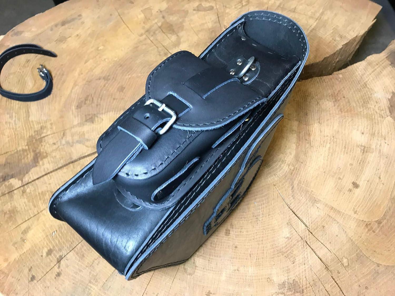 funda de silla de montar o bolsillo lateral para el m/óvil peque/ña funda de piel para moto ORLETANOS Funda marr/ón para gafas de piel con bolsillo adicional compatible con Harley Davidson HD
