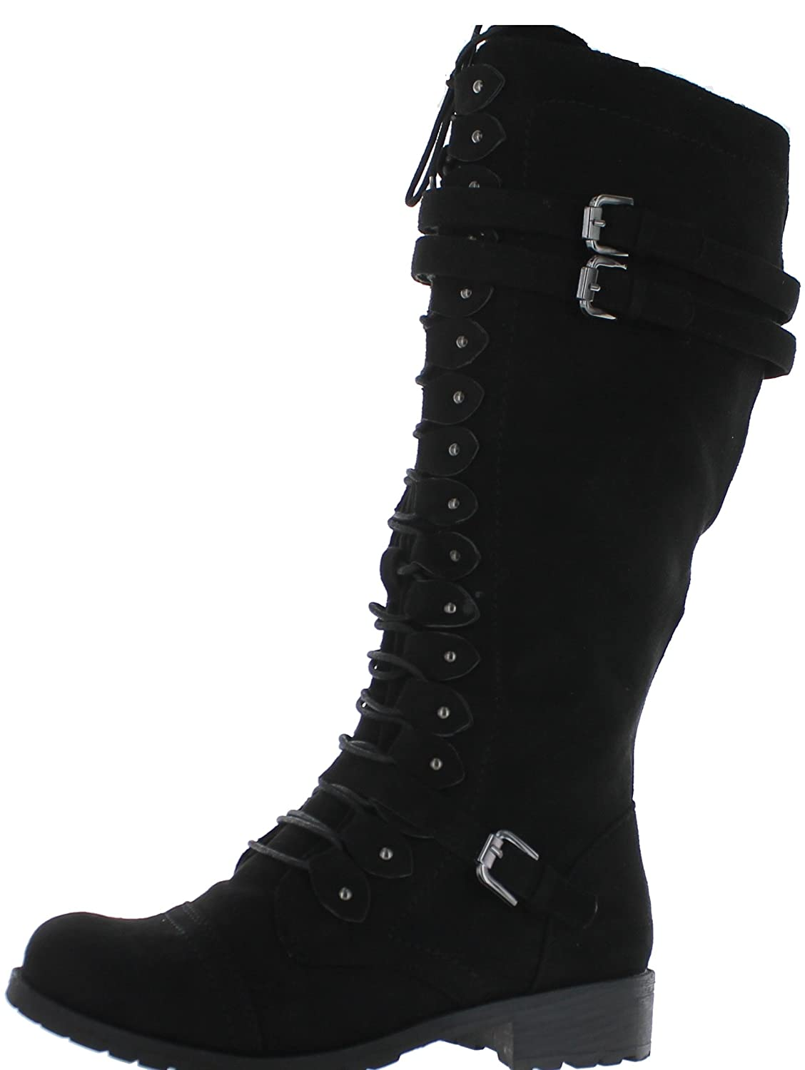 Amazon.com | Womens Knee High Boots Lace Up Combat Buckle Straps ...
