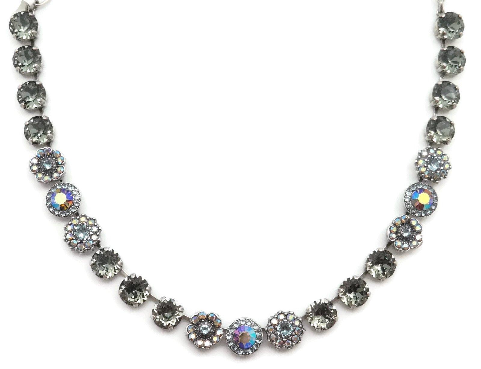 Mariana Swarovski Crystal Silver Plated Necklace Dark Grey Blue Flower Mosaic 215-3 Martini