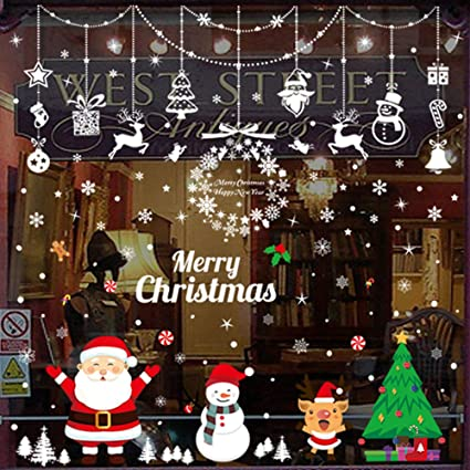 Christmas Window Decals.Christmas Window Sticker Clings Christmas Window Decals Santa Claus Diy Decal Stickers For Christmas Showcase Decorations Ornaments Xmas Party