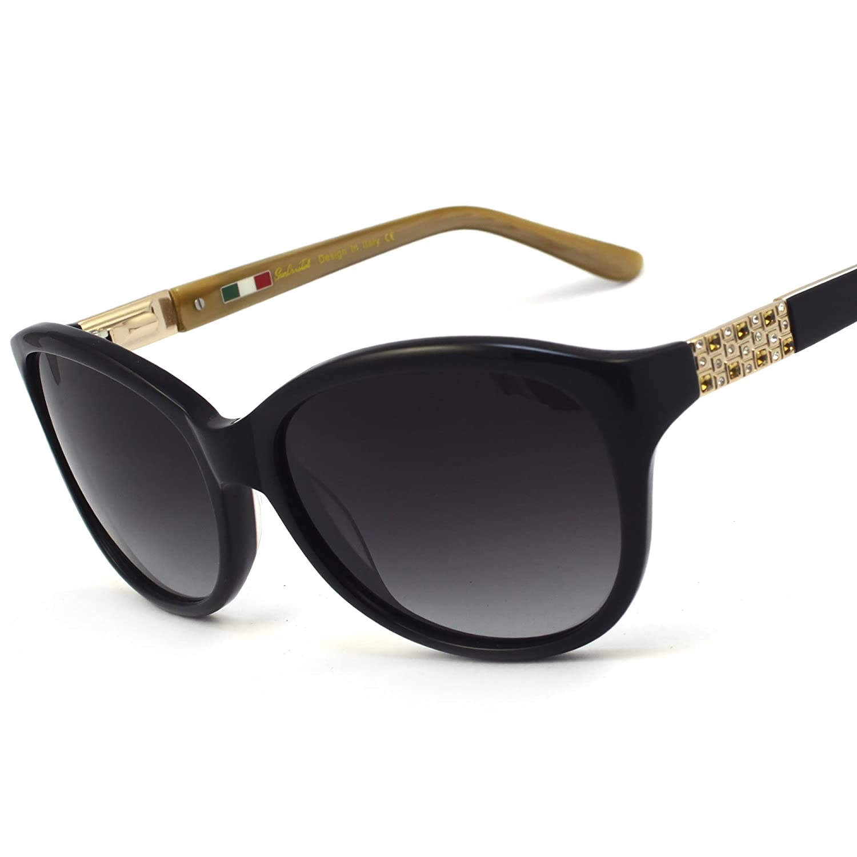 9c5c594695a Amazon.com  Lady Acetate Shiny Rhinestone Cat-Eye Butterfly Polarized  Sunglass 6601R UV400 (Black