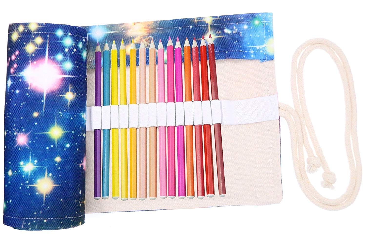 FridCy Colored Pencils Case Wrap Roll Up Holder Pouch for Artist Travel Drawing Coloring Portable Canvas Storage Organizer for Ball Pens or Pencils (72 Holes, Star Universe) Pencil Case