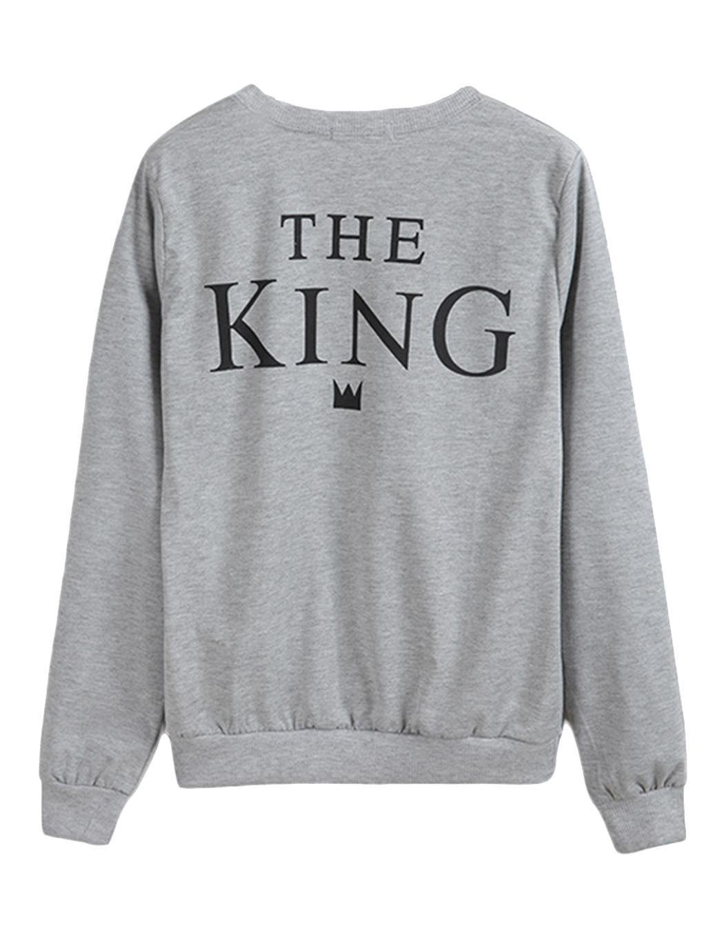 Sholdnut Couple Cute Fleece Lined Sweaters The King and His Queen Loose Pullover Sweatshirt, Grey, X-Large by Sholdnut