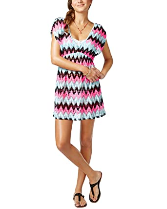 d4b5893784c46 Miken Women s Crochet Chevron V-Neck Swim Cover at Amazon Women s ...