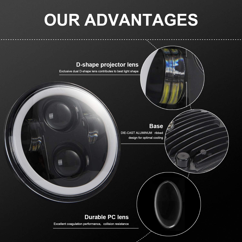 Ajcoflt 5,75 Pulgadas LED Faro Motocicleta proyector Faro s/úper Gran Angular luz de conducci/ón
