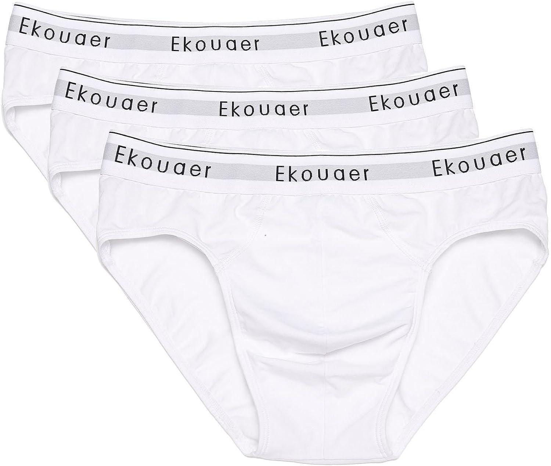 Ekouaer Mens Boxer Brief Breathable Shorts Stretch 3 pack Classic Boxershort