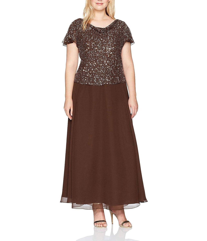 Brown Jerald Norton Ltd Women's 2 Piece Beaded Gown Flutter Sleeve Mother of The Bride Dress Plus Size Brown