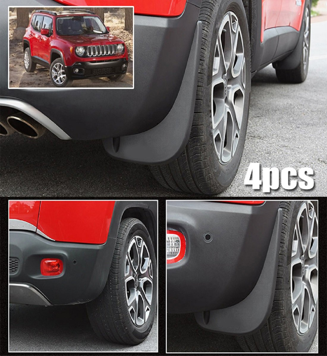 biosp Auto Mud Flaps Splash Guards For Jeep Renegade 2015 2016 2017 2018 2019 Front and Rear Fender Cover-Custom Fit Black ABS Molded 4Pcs Set