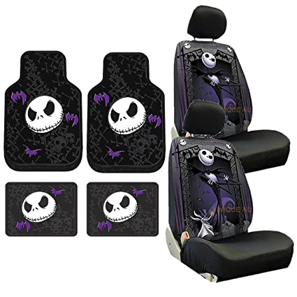 8pc Nightmare Before Christmas Jack Skellington Seat Covers Rubber Floor Mat Set