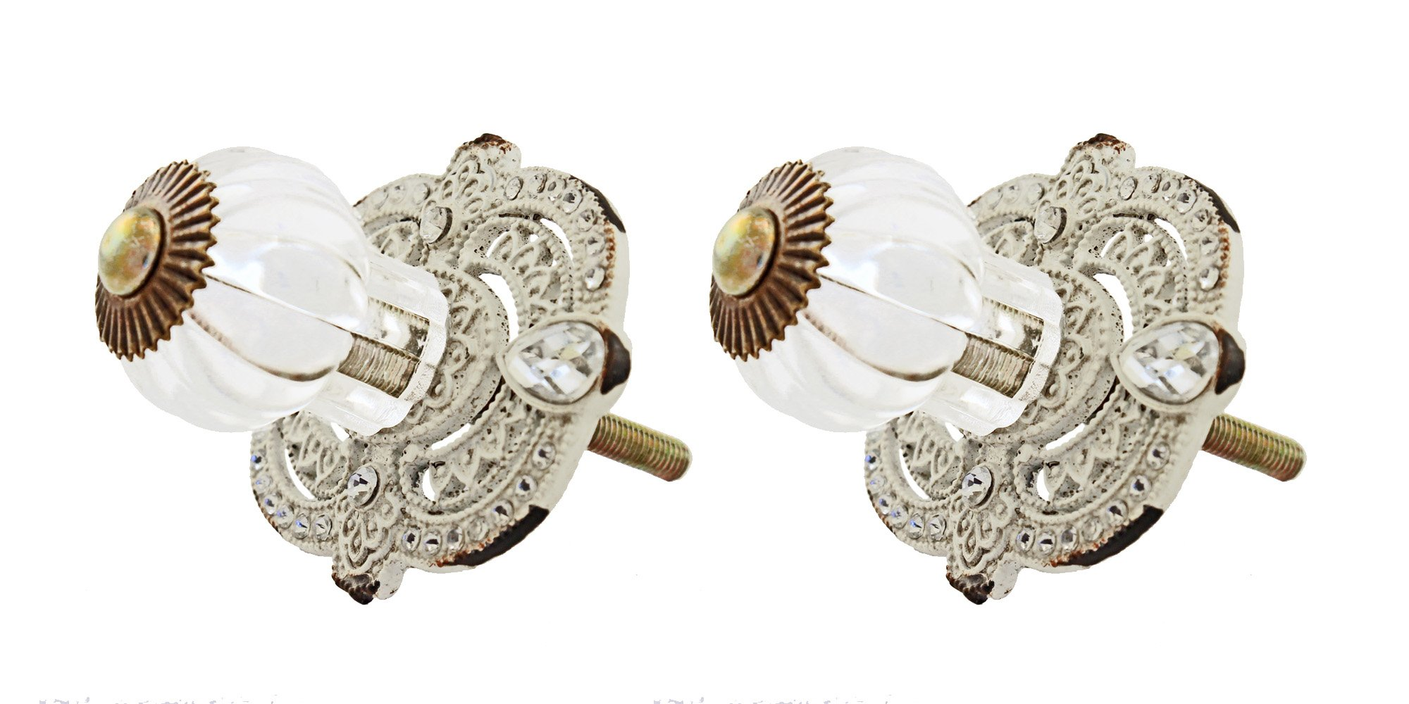 VIP Pewter and Rhinestone Victorian Drawer Pull with Acrylic Knob (2)