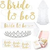 Bachelorette Party Bride To Be Decorations Kit - Bridal Shower Supplies | Sash For Bride, Rhinestone Tiara, Gold and Silver Banner, Veil + Bride Tribe Flash Tattoos