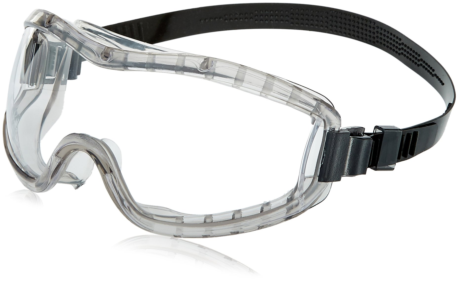 MCR Safety 2310AF Stryker Adjustable Polyvinyl Chloride Strap Stylish Goggle with Smoke Frame and Clear Anti-Fog Lens, 1 Pair