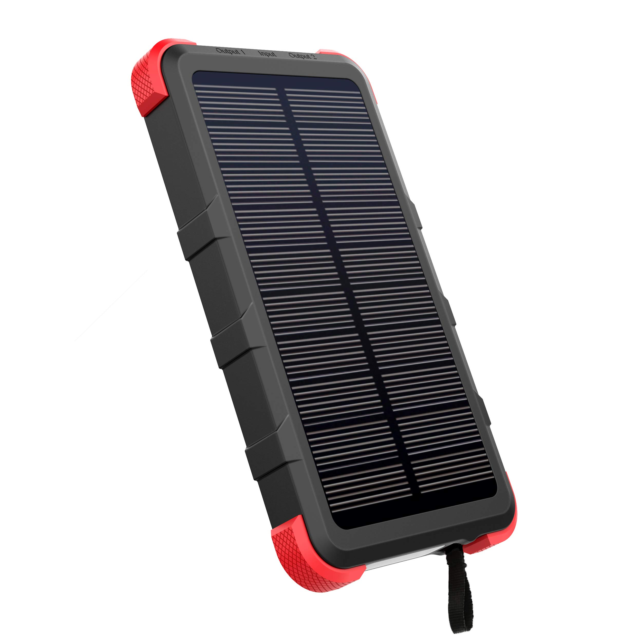 [Upgrade] OUTXE USB C Solar Charger 10000mAh with Flashlight IP67 Waterproof Solar Power Bank Rugged for Hiking Camping Backpacking