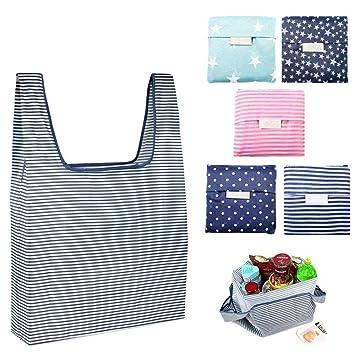 Poliéster Bolsa de la compra reutilizable Bolsas de plegable para exteriores, 5 Pack