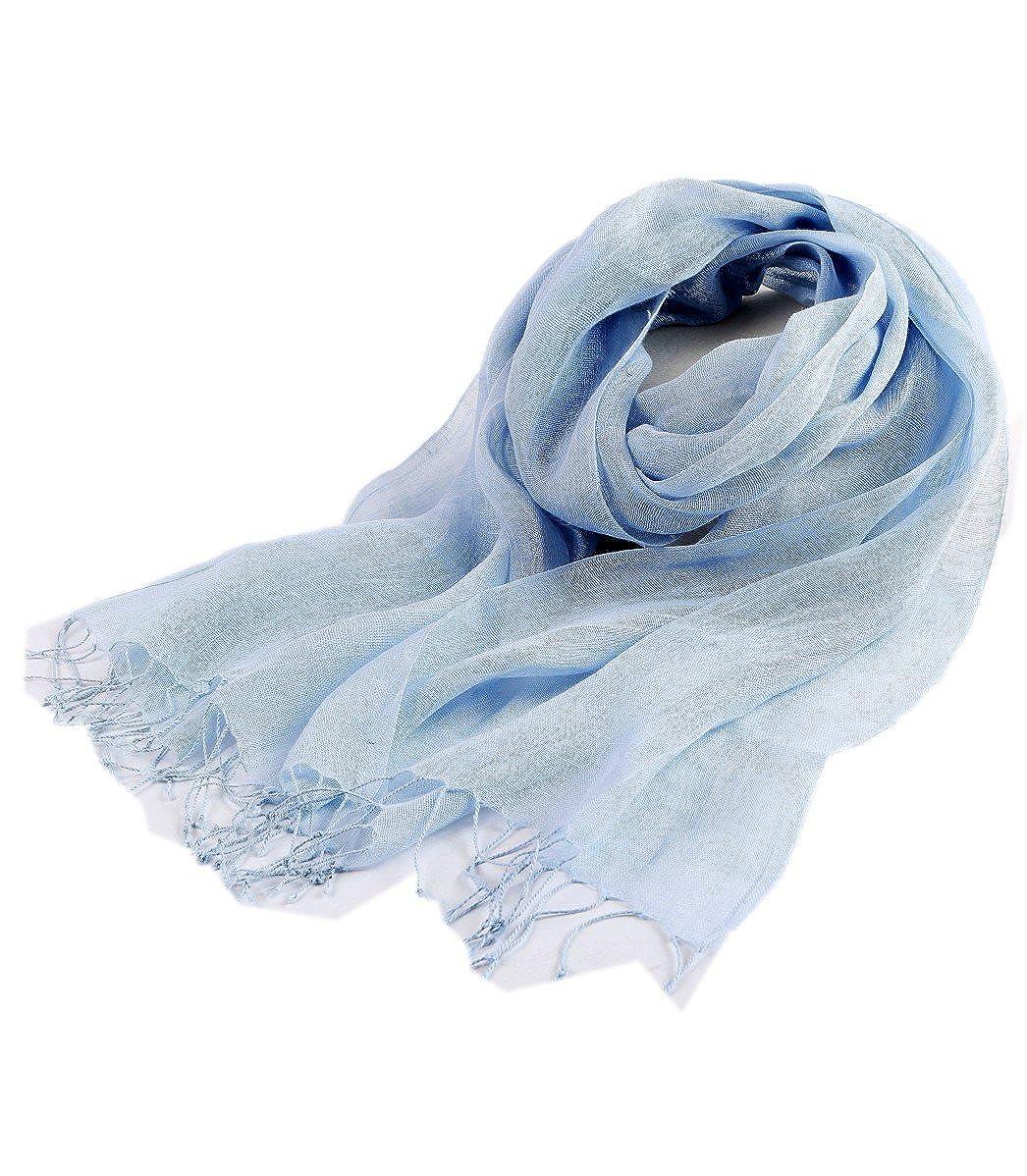 Prettystern - tinta unica donna uomo unisex 100% lino foulard sciarpa in lino primavera estate con frange in 15 colori