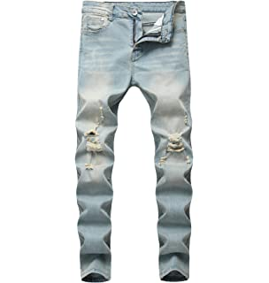 cf7655390617 DEITP Men s Distressed Destroyed Ripped Slim Fit Skinny Stretch Denim Jeans