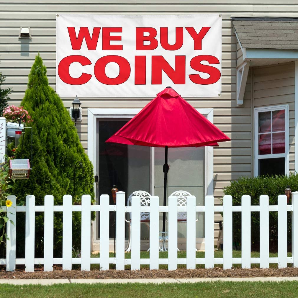 Vinyl Banner Multiple Sizes We Buy Coins Red B Retail Outdoor Weatherproof Industrial Yard Signs 10 Grommets 60x144Inches