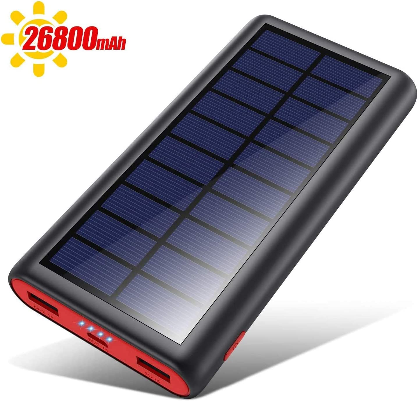 Solar Charger 26800mAh,Kilponen Outdoor Power Bank,Camping High Capacity External Backup Battery Pack with 4 LED Lights,Dual USB Ports Charging for Cellphones Tablets,iPad,GoPro Camera,GPS and More