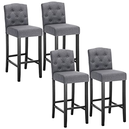 sports shoes b27a9 135d2 WOLTU Breakfast Kitchen Counter Chairs Bar Stools Set of 4 Bar Chairs Wood  Legs Barstools Dark Grey High Stools