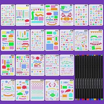 Plantilla y bolígrafos de APLANET, 24 piezas de plantillas de dibujo para manualidades, plantillas de plástico, suministros y 12 bolígrafos de color ...