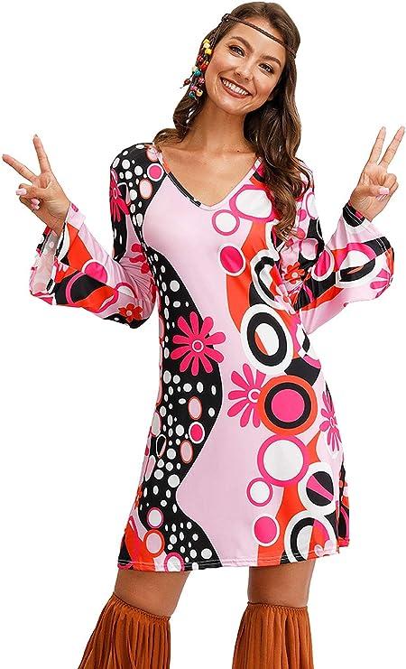 60s Costumes: Hippie, Go Go Dancer, Flower Child, Mod Style For G and PL Womens Floral 1960s 1970s Hippie Costume Dress  AT vintagedancer.com