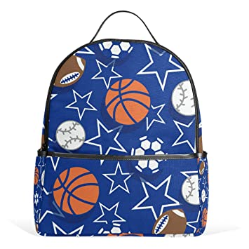 468fd03ed63244 Basketball Soccer Football Star Blue Sport Backpack for Women Teen Girls  Purse Fashion Bag Bookbag Children