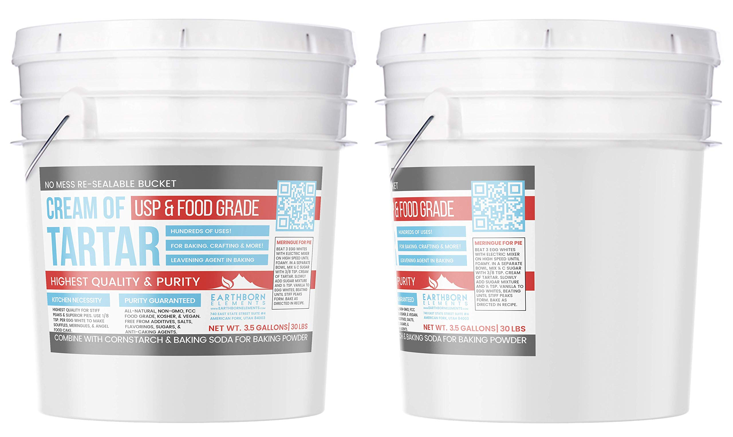 Cream of Tartar (3.5 Gallon) by Earthborn Elements, Resealable Bucket, Highest Purity, Baking Additive, Non-GMO, Kosher, Gluten-Free, All-Natural, DIY Bath Bombs by Earthborn Elements (Image #3)