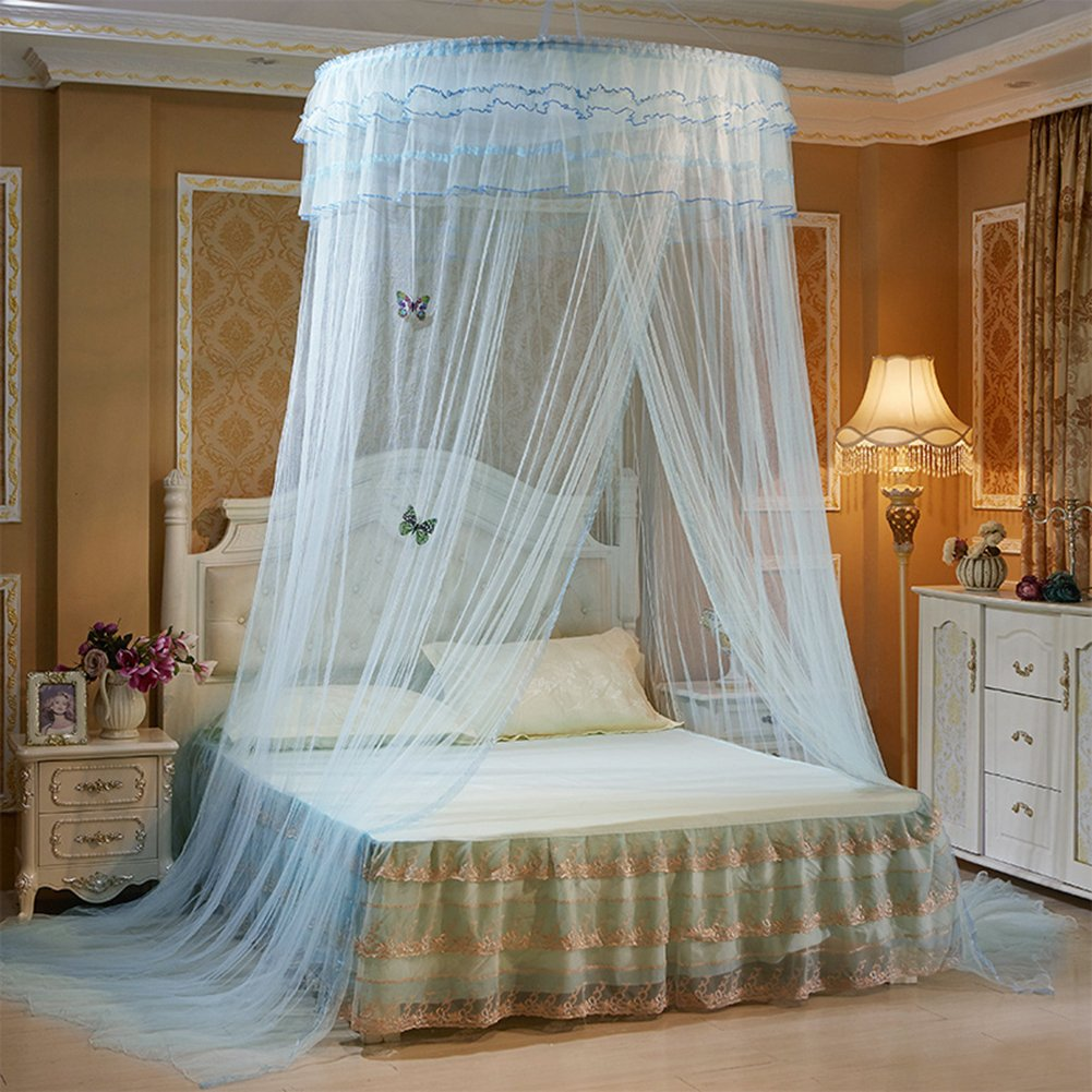 Graceful Round Mosquito Net Honeycomb Type Encryption Mesh, Keeps Away Mosquitoes and Insects Bed Net, Including Hanging Parts and 2 Luminous Butterflies Decoration, Fits Most Size Beds (White) ANITYSOF