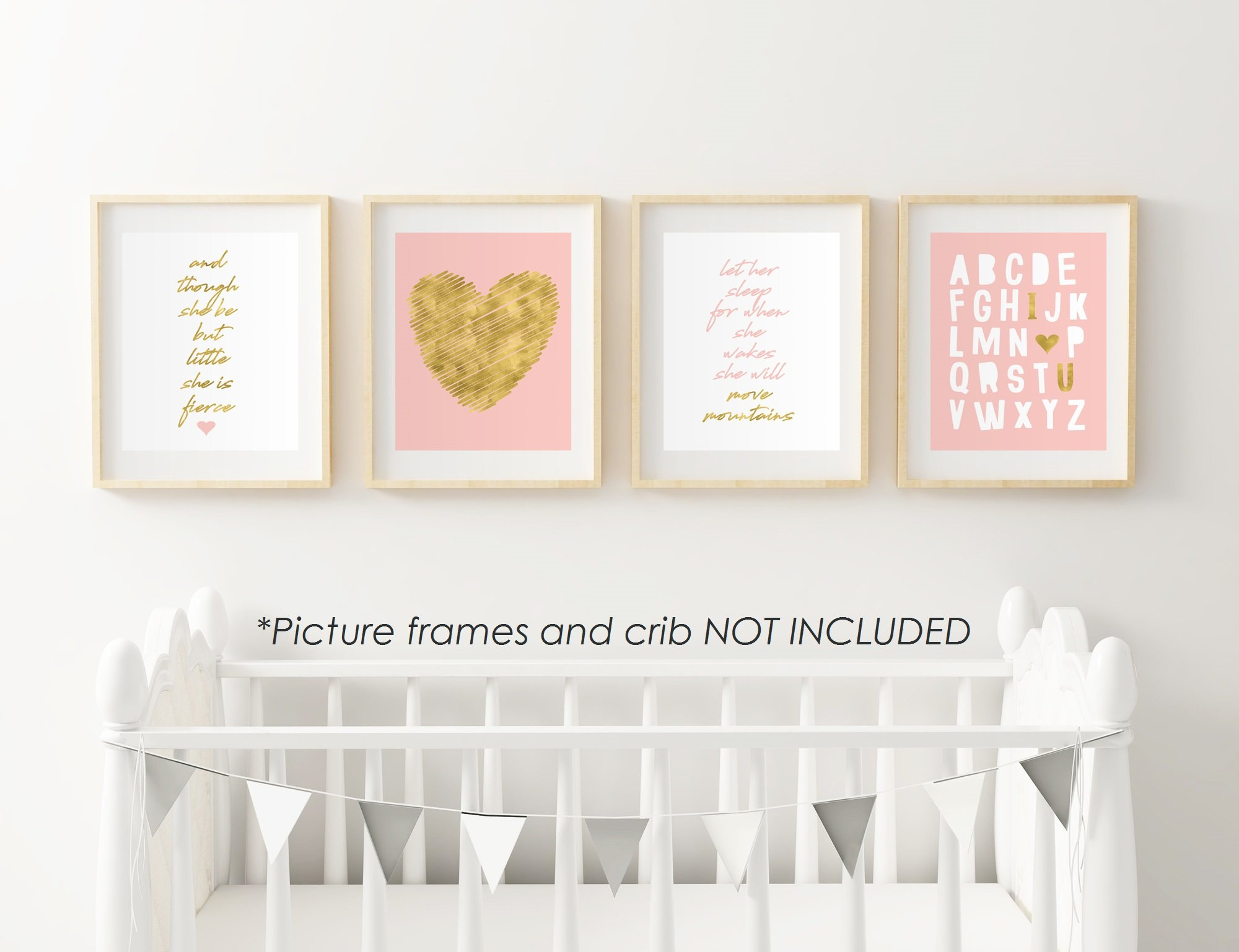 8'' x10'' Gold Heart Nursery Prints for Baby Girl & Children Room Decor & Decorations Perfect for Baby Shower Gift Ideas …
