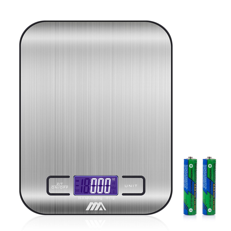 Balance Cuisine Electronique Balance de Précision - Balance numérique de cuisine de Haute Précision, 5kg/1g, Acier Inoxydable Tactile Sensible Écran LCD Rétroéclairé Auto-arrêt product image
