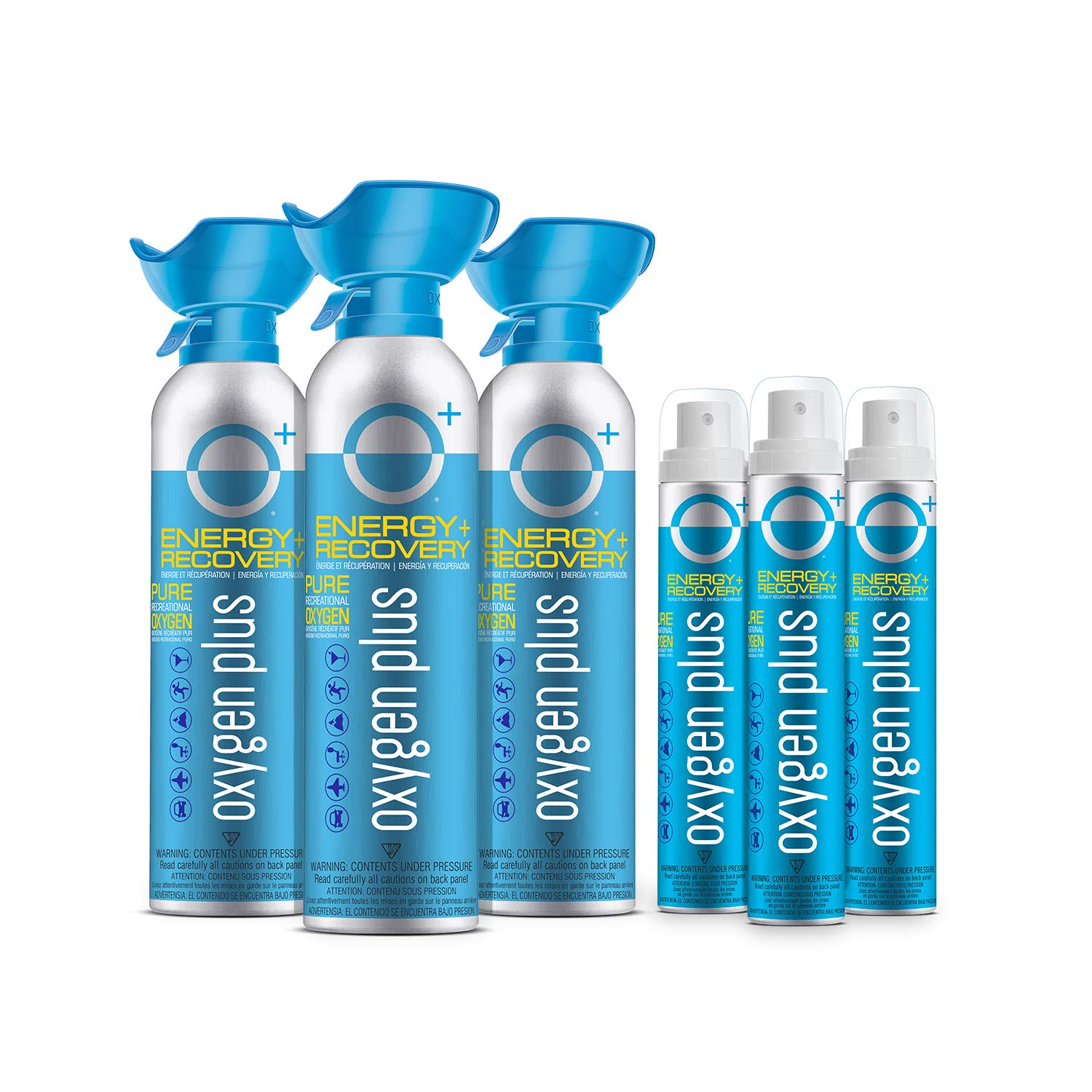 Oxygen Plus Oxygen Cans Sports Pack: 3 O+ Biggi & 3 O+ Skinni - Boost Oxygen Levels with Portable & Concentrated Recreational Oxygen for Altitude Performance & Energy