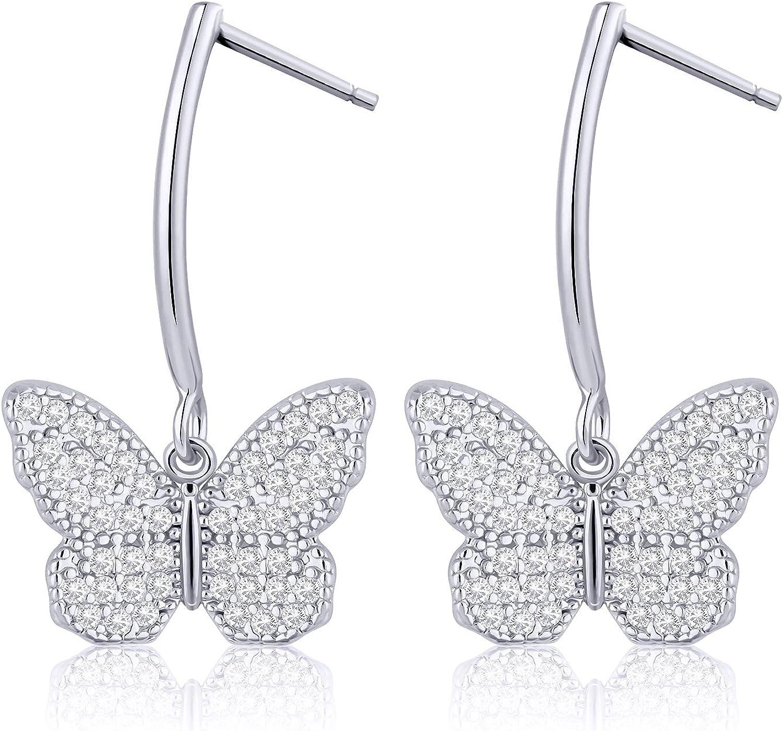 Tacobear Pendientes Mariposa Mujer S925 Plata Cristal Diamantes de Imitación Mariposa Colgantes Pendientes Regalo para Mujer