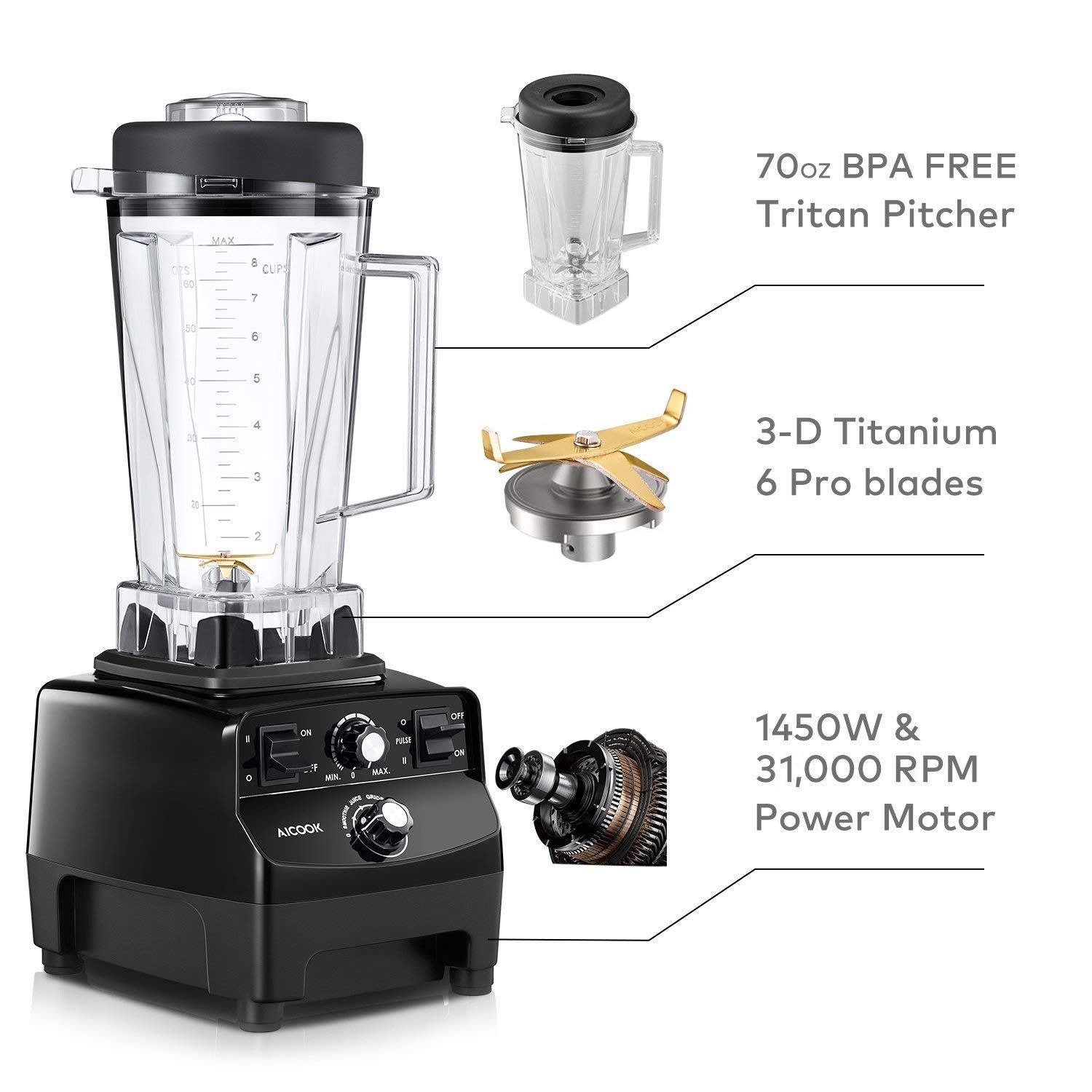 2 Portable Cups 14 Variable Speeds Smoothie Blender Aicook ...
