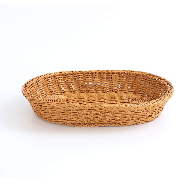 Oval Poly-Wicker Bread Storage Basket Home Supermarket Decor Shelf Basket Coffee Table Display Set of 3 35x25x7cm