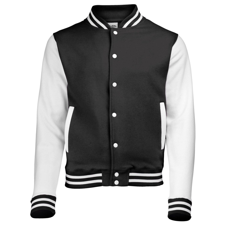 AWDis Hoods Varsity Letterman jacket Jet Black / White M by AWDis Hoods
