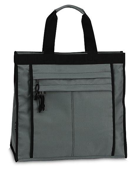 fc140f14748c5 Einkaufstasche Shopper Tasche Umhängetasche Strandtasche Innenfach + 2  Außenfächer mit Reißverschluss - Grau