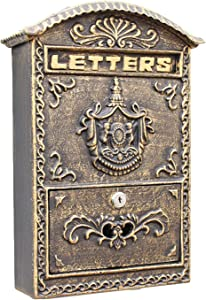 Wall Mounted Mailbox - Antique Letterbox - Creative Cast Iron Letter Box for Wall Door Gate Fence Post Garden Nostalgic Charm Home Decor