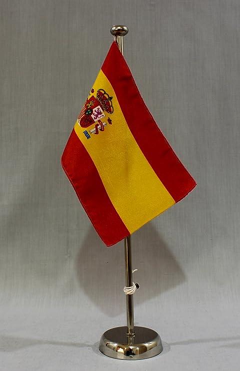 España con escudo de 15 x 25 cm (CH) con bandera de 42 cm cromo ...